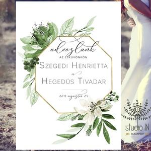 Esküvői üdvözlő tábla, esküvői köszöntő tábla, Esküvői Vendégváró tábla, Tábla & Jelzés, Dekoráció, Esküvő, Fotó, grafika, rajz, illusztráció, Zöld leveles esküvői üdvözlő tábla\n\nAMIT KÜLDÜNK:\nDIGITÁLIS FILE VÁSÁRLÁSA ESETÉN: \n- 1 DB MÉRETRE S..., Meska