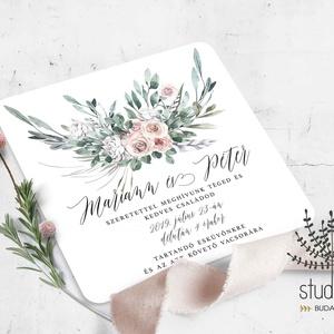 Bohém esküvői Meghívó, pasztell virágos Esküvői Meghívó, virágos meghívó, boho esküvő, Meghívó, Meghívó & Kártya, Esküvő, Fotó, grafika, rajz, illusztráció, Papírművészet, Bohém esküvői meghívó. \n\nA termék tartalmazza:\n* Meghívó lap, egy oldalas : 13x13cm méretben\n* Borít..., Meska