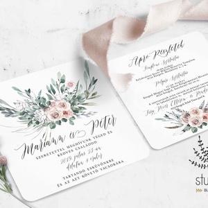 Bohém esküvői Meghívó, pasztell virágos Esküvői Meghívó, virágos meghívó, boho esküvő (Studioin) - Meska.hu