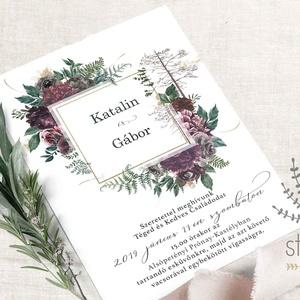 Bordó erdei esküvői meghívó, bordó virágos esküvői meghívó, őszi esküvői meghívó, Esküvő, Meghívó, ültetőkártya, köszönőajándék, Naptár, képeslap, album, Otthon & lakás, Képeslap, levélpapír, Fotó, grafika, rajz, illusztráció, Bordó és mályva, erdei esküvői meghívó, bordó erdei növényekkel és virágokkal díszítve. \n\nA termék t..., Meska