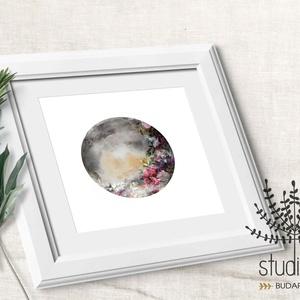 HOLD, viragos hold kép, telihold virágokkal, hold mánia, aquarell hold print, Otthon & Lakás, Kép & Falikép, Dekoráció, Fotó, grafika, rajz, illusztráció, Meska