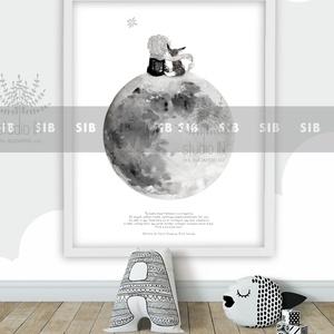 Kis herceg gyermekszobai falikép, Róka, monokróm hold falikép, , Kép & Falikép, Dekoráció, Otthon & Lakás, Fotó, grafika, rajz, illusztráció, Kis herceg gyermekszobai falikép.\nMonokróm gyermekszobai fali dekoráció.\nA képet elérheted különböző..., Meska