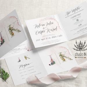 Erdei monogramos esküvői Meghívó, vízfesték hatású Esküvői Meghívó, boho esküvői kártya, erdei esküvő, Meghívó, Meghívó & Kártya, Esküvő, Fotó, grafika, rajz, illusztráció, Monogramos erdei esküvői meghívó. \nAquarell hatású, kinyitható esküvői meghívó.\n\nA termék tartalmazz..., Meska