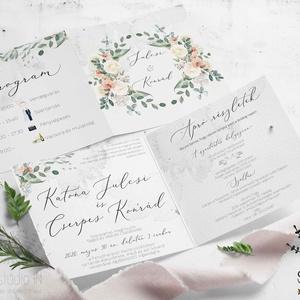 Nyári rózsás esküvői Meghívó, vízfesték hatású Esküvői Meghívó, boho esküvői kártya, tavaszi esküvő, Meghívó, Meghívó & Kártya, Esküvő, Fotó, grafika, rajz, illusztráció, Bohém és egyben elegáns, virágokkal díszített esküvői meghívó. \nAquarell hatású, kinyitható esküvői ..., Meska