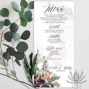 Menü kártya esküvőre, erdei esküvői menü kártya, Esküvői étlap, zöld leveles esküvői asztal dekoráció, Esküvő, Meghívó, ültetőkártya, köszönőajándék, Esküvői dekoráció, Fotó, grafika, rajz, illusztráció, Menü kártya a bordó erdei esküvői meghívónkhoz.\nA Menü kártya akár dekorációja is lehet az esküvői a..., Meska