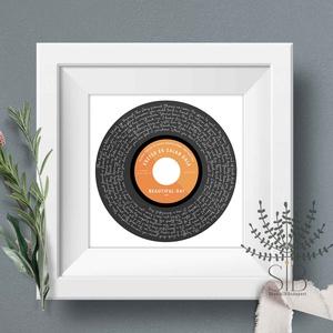 Hanglemez témájú egyedi feliratos print, Valentin napi ajándék, egyedi hanglemez ajándék, nászajándék, évforduló ajándék, Esküvő, Otthon & lakás, Dekoráció, Férfiaknak, Fotó, grafika, rajz, illusztráció, Hanglemez mintájú, egyedi feliratos print, amelyhez megadhatod a dal címét és a megajándékozott nevé..., Meska