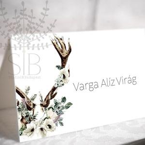 Esküvői Ültetőkártya Boho Esküvői Ültető Agancsos Esküvői asztal dekoráció Névkártya, Ültetési rend, Meghívó & Kártya, Esküvő, Fotó, grafika, rajz, illusztráció, Boho erdei esküvői ültető kártya virágos agancs mintával. \n\nAz ültetőkártyát két méretben kérheted:\n..., Meska