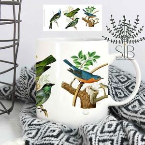 Madaras bögre, erdei madár bögre, madaras ajándék bögre,, Otthon & lakás, Konyhafelszerelés, Bögre, csésze, Lakberendezés, Decoupage, transzfer és szalvétatechnika, Fotó, grafika, rajz, illusztráció, Vintage stílusú madaras kerámia bögre.\n\nEzek a bögrék tökéletesen alkalmasak mindennapi, tartós hasz..., Meska