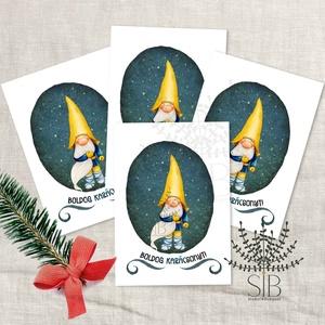 Karácsonyi mini kártya, Manós ünnepi ajándékkísérő, kinyitható ajándékátadó mini képeslap, Otthon & lakás, Naptár, képeslap, album, Ajándékkísérő, Képeslap, levélpapír, Fotó, grafika, rajz, illusztráció, Manós mini karácsonyi ajándékkísérő kártya. Ünnepi kinyitható ajándékkísérő, ajándékátadó.\n_________..., Meska