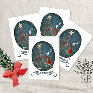 Karácsonyi mini kártya, nyuszis ünnepi ajándékkísérő, kinyitható ajándékátadó mini képeslap, Otthon & lakás, Naptár, képeslap, album, Ajándékkísérő, Képeslap, levélpapír, Fotó, grafika, rajz, illusztráció, Nyuszis mini karácsonyi ajándékkísérő kártya. Ünnepi kinyitható ajándékkísérő, ajándékátadó.\n_______..., Meska