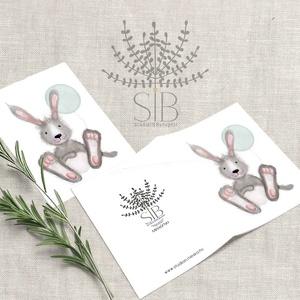 Ajándékkísérő kártya, nyuszis kinyitható mini képeslap, születésnapi ajándék átadó kártya, szülinapi képeslap , Otthon & lakás, Naptár, képeslap, album, Ajándékkísérő, Képeslap, levélpapír, Fotó, grafika, rajz, illusztráció, Nyuszis mini ajándékkísérő kártya csomag.\nNyuszis üdvözlő kártya.\n______________\nA csomag tartalma:\n..., Meska