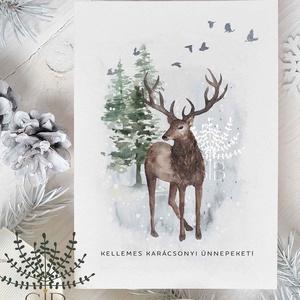 karácsonyi képeslap, szarvasos karácsony, téli karácsonyi üdvözlő lap, Karácsonyi képeslap, Karácsony & Mikulás, Otthon & Lakás, Fotó, grafika, rajz, illusztráció, Karácsonyi képeslap téli tájjal és szarvassal. \n\nA képeslapok matt, vastag, finoman texturált papírr..., Meska