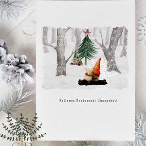 karácsonyi képeslap, manós karácsony, téli karácsonyi üdvözlő lap, Karácsonyi képeslap, Karácsony & Mikulás, Otthon & Lakás, Fotó, grafika, rajz, illusztráció, Karácsonyi képeslap kedves manóval.\n\nA képeslapok matt, vastag, finoman texturált papírra vannak nyo..., Meska