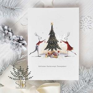 karácsonyi képeslap, nyuszis karácsony, téli karácsonyi üdvözlő lap, Karácsonyi képeslap, Karácsony & Mikulás, Otthon & Lakás, Fotó, grafika, rajz, illusztráció, Karácsonyi képeslap kedves nyuszi párral, karácsonyfával.\n\nA képeslapok matt, vastag, finoman textur..., Meska