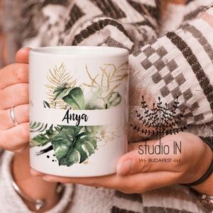 Anya Bögre, bögre anyukáknak, anya ajándék bögre zöld növényes bögre, Otthon & lakás, Konyhafelszerelés, Bögre, csésze, Gyerek & játék, Decoupage, transzfer és szalvétatechnika, Fotó, grafika, rajz, illusztráció, Ajándék bögre anyukáknak.Karácsonyra, Anyák napjára vagy születésnapra is kedves ajándék. \n\nEzek a b..., Meska
