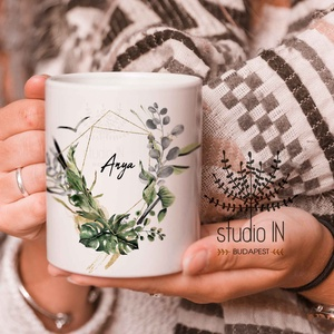 Anya Bögre, bögre anyukáknak, anya ajándék bögre zöld növényes bögre (Studioin) - Meska.hu
