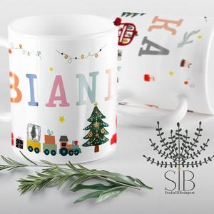 karácsonyi bögre, téli vonatos bögre, karácsonyi ajándék bögre, karácsonyi autós bögre, Bögre & Csésze, Konyhafelszerelés, Otthon & Lakás, Decoupage, transzfer és szalvétatechnika, Fotó, grafika, rajz, illusztráció, Karácsonyi bögre fiúknak és lányoknak.\nEz a karácsonyi névreszóló bögrénk szuper ajándék fiúknak és ..., Meska