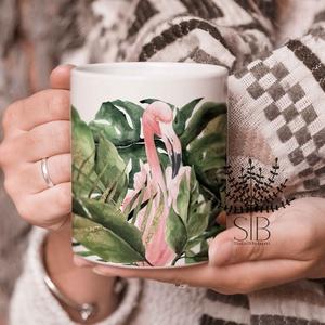 flamingó bögre, trópusi mintás bögre, csajos ajándék bögre,, Konyhafelszerelés, Otthon & lakás, Bögre, csésze, Lakberendezés, Decoupage, transzfer és szalvétatechnika, Fotó, grafika, rajz, illusztráció, Csajos Flamingó bögre. \n\nEzek a bögrék tökéletesen alkalmasak mindennapi, tartós használatra! \nMosog..., Meska