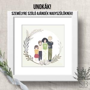 UNOKÁK! portré falikép nagyszülőknek, személyre szóló ajándék, ajándék portré falikép nagymamáknak, nagypapáknak (Studioin) - Meska.hu