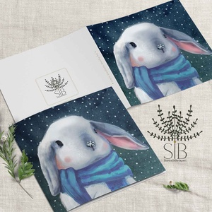 karácsonyi képeslap, nyuszis karácsonyi ajándékkísérő, téli karácsonyi üdvözlő lap, Karácsonyi képeslap, Karácsony & Mikulás, Otthon & Lakás, Fotó, grafika, rajz, illusztráció, Karácsonyi nyuszis képeslap. \n\nA képeslapok matt, hófehér papírra vannak nyomtatva. \n\nAmit küldünk:\n..., Meska
