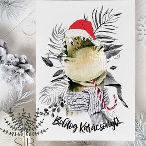 karácsonyi képeslap, dinós karácsony, téli karácsonyi üdvözlő lap, Karácsonyi képeslap, Karácsony & Mikulás, Otthon & Lakás, Fotó, grafika, rajz, illusztráció, Dinós karácsonyi képeslap.\n\nA képeslapok matt, vastag, finoman texturált papírra vannak nyomtatva. \n..., Meska