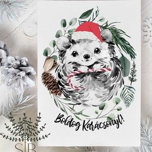 karácsonyi képeslap, sünis karácsony, téli karácsonyi üdvözlő lap, Karácsonyi képeslap, Karácsony & Mikulás, Otthon & Lakás, Fotó, grafika, rajz, illusztráció, Sünis karácsonyi képeslap.\n\nA képeslapok matt, vastag, finoman texturált papírra vannak nyomtatva. \n..., Meska