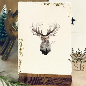 Merített papíros karácsonyi képeslap, szarvasos karácsony, téli karácsonyi üdvözlő lap, vintage karácsonyi lap, Karácsonyi képeslap, Karácsony & Mikulás, Otthon & Lakás, Fotó, grafika, rajz, illusztráció, Papírművészet, Karácsonyi képeslap kézzel készített merített papíron, aranyfóliával. \nVastag kézműves merített papí..., Meska