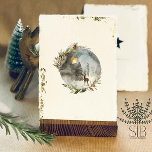 Merített papíros karácsonyi képeslap, téli tájas karácsony, téli karácsonyi üdvözlő lap, vintage stílusú karácsonyi lap, Karácsonyi képeslap, Karácsony & Mikulás, Otthon & Lakás, Fotó, grafika, rajz, illusztráció, Papírművészet, Karácsonyi képeslap kézzel készített merített papíron, aranyfóliával. \nVastag kézműves merített papí..., Meska