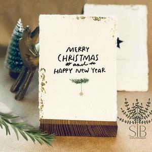 Merített papíros karácsonyi képeslap, minimál karácsony, téli karácsonyi üdvözlő lap, vintage minimál karácsonyi lap, Karácsonyi képeslap, Karácsony & Mikulás, Fotó, grafika, rajz, illusztráció, Papírművészet, Karácsonyi képeslap kézzel készített merített papíron, aranyfóliával. \nVastag kézműves merített papí..., Meska