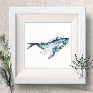 Bálna Falikép, halas dekoráció, tengeri falikép, bálna, óceán, Otthon & lakás, Dekoráció, Kép, Lakberendezés, Fotó, grafika, rajz, illusztráció, Bálna Falikép, halas dekoráció, tengeri falikép, bálnás print, óceáni állatos kép.\nAz Óceán szettünk..., Meska
