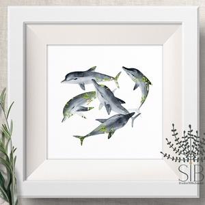 Delfines Falikép, halas dekoráció, tengeri falikép, delfin, óceán, Otthon & lakás, Dekoráció, Kép, Lakberendezés, Fotó, grafika, rajz, illusztráció, Delfin Falikép, tenger fali dekoráció, tengeri falikép, delfines print, óceáni állatos kép.\nAz Óceán..., Meska