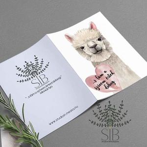Valentin napi mini kártya, Láma szív kinyitható mini képeslap, lámás ajándék átadó kártya, vicces képeslap , Esküvő, Otthon & lakás, Naptár, képeslap, album, Képeslap, levélpapír, Fotó, grafika, rajz, illusztráció, Láma mini kártya csomag.\nValentin napi képeslap.\n______________\nA csomag tartalma:\n- 4 db Láma szíve..., Meska