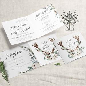 Esküvői Meghívó, Erdei Esküvői Meghívó, Agancsos meghívó, Erdei esküvői meghívó, Esküvő, Meghívó, Meghívó & Kártya, Erdei esküvőhöz agancsos meghívó.  Aquarell hatású, kinyitható esküvői meghívó.  A termék tartalmazz..., Meska