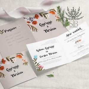 Virágos esküvői Meghívó, Erdei Esküvői Meghívó, boho esküvő, őszi meghívó, Meghívó, Meghívó & Kártya, Esküvő, Fotó, grafika, rajz, illusztráció, Bohém és egyben rusztikus, virágokkal díszített esküvői meghívó. \nKinyitható esküvői meghívó.\n\nA ter..., Meska