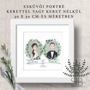 Nászajándék, személyre szóló esküvői ajándék, esküvői ajándék portré, Esküvő, Nászajándék, Otthon & lakás, Lakberendezés, Falikép, Fotó, grafika, rajz, illusztráció, Nászajándék az új házasoknak. \nLepd meg az ifjú párt ezzel az egyedi, személyre szabott portré dekor..., Meska