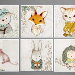 Állatos Baba szoba falikép, róka, nyuszi, maci, erdei állatos gyerekszoba dekoráció,, Otthon & lakás, Dekoráció, Gyerek & játék, Gyerekszoba, Baba falikép, Fotó, grafika, rajz, illusztráció, Bébi állatos baba szoba dekoráció.\nTündéri állatkák a gyerekszobába. Róka, mackó, nyuszi, egér, vagy..., Meska