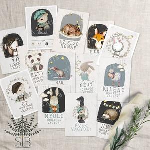Baba fotó kártya, Mérföldkő kártya fiúknak, baba hónap kártya, állatos mérföldkő kártya, babakártya, erdei állatos, Gyerek & játék, Baba-mama kellék, Otthon & lakás, Naptár, képeslap, album, Fotóalbum, Fotó, grafika, rajz, illusztráció, Tündéri állatkákkal díszített babaköszöntő fotó kártya szett 13 db különböző erdei állatos grafikáva..., Meska