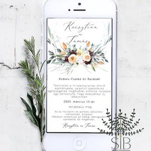 Digitális esküvői értesítő, letölthető meghívó, esküvői program változás, digitálisan küldhető meghívó, E-meghívó, Esküvő, Meghívó, ültetőkártya, köszönőajándék, Otthon & lakás, Naptár, képeslap, album, Esküvői dekoráció, Fotó, grafika, rajz, illusztráció, Okos telefonon küldhető, letölthető esküvői programváltozás. \n\nA termék tartalmazza:\n* 1db személyes..., Meska