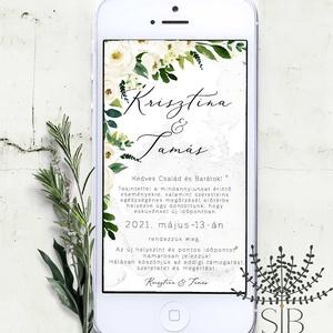 Digitális esküvői értesítő, letölthető meghívó, esküvői program változás, digitálisan küldhető meghívó, E-meghívó, Meghívó, Meghívó & Kártya, Esküvő, Fotó, grafika, rajz, illusztráció, Okos telefonon küldhető, letölthető esküvői programváltozás. \n\nA termék tartalmazza:\n* 1db személyes..., Meska