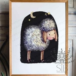 Bárány, gyermekszoba falikép, bárány kép, róka, nyuszi, maci, állatos gyerekszoba dekoráció, (Studioin) - Meska.hu