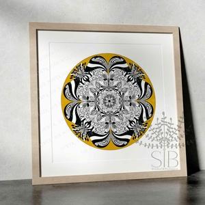 Mandala, Doodle mandala, Zentangle, Mandala rajz, Mandala print, Esküvő, Otthon & lakás, Dekoráció, Nászajándék, Kép, Lakberendezés, Falikép, Fotó, grafika, rajz, illusztráció, Saját tervezésű, kézzel rajzolt mandala print.\nA mandalát az alábbi méretekben tudod megrendelni:\n\nA..., Meska