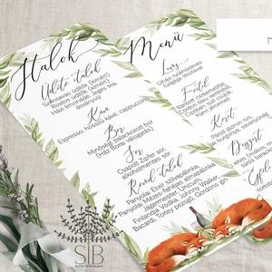 Menü és itallap esküvőre, róka mintás menü kártya, Esküvői étlap, Erdei Esküvő, Dupla oldalas menü és itallap , Menü, Meghívó & Kártya, Esküvő, Fotó, grafika, rajz, illusztráció, Menü és itallap kártya a rókás esküvői meghívónkhoz.\nA lap egyik oldalán a menü, másik oldalán az it..., Meska