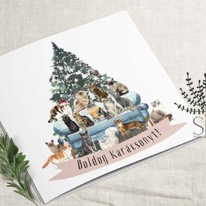 Cicás karácsonyi képeslap, karácsonyi ajándékkísérő, macska karácsonyi üdvözlő lap, Karácsonyi képeslap, Karácsony & Mikulás, Otthon & Lakás, Fotó, grafika, rajz, illusztráció, Vidám karácsonyi cica mintás képeslap.\n\nA képeslapok matt, hófehér papírra vannak nyomtatva. \n\nAmit ..., Meska