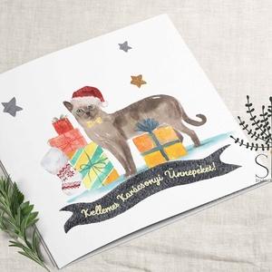 Cicás karácsonyi képeslap, karácsonyi ajándékkísérő, macska karácsonyi üdvözlő lap, Karácsonyi képeslap, Karácsony & Mikulás, Otthon & Lakás, Fotó, grafika, rajz, illusztráció, Vidám karácsonyi cica ajándék mintás képeslap.\n\nA képeslapok matt, hófehér papírra vannak nyomtatva...., Meska