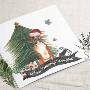 Kutyás karácsonyi képeslap, karácsonyi ajándékkísérő, boxer karácsonyi üdvözlő lap, Karácsony & Mikulás, Otthon & Lakás, Karácsonyi képeslap, Fotó, grafika, rajz, illusztráció, Vidám karácsonyi boxer kutya mintás képeslap.\n\nA képeslapok matt, hófehér papírra vannak nyomtatva. ..., Meska