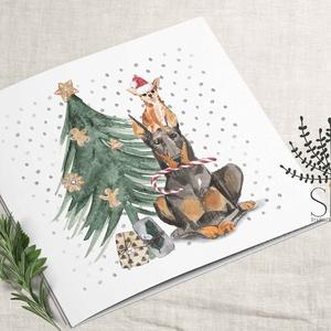 kutyás karácsonyi képeslap, karácsonyi ajándékkísérő, kutyus karácsonyi üdvözlő lap, Karácsony & Mikulás, Otthon & Lakás, Karácsonyi képeslap, Fotó, grafika, rajz, illusztráció, Vidám karácsonyi kutya mintás képeslap.\n\nA képeslapok matt, hófehér papírra vannak nyomtatva. \n\nAmit..., Meska