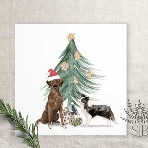 kutyás karácsonyi képeslap, karácsonyi ajándékkísérő, kutyus karácsonyi üdvözlő lap, labrador, collie, Otthon & Lakás, Karácsony & Mikulás, Karácsonyi képeslap, Fotó, grafika, rajz, illusztráció, Vidám karácsonyi kutya mintás képeslap labradorral és border collie-val.\n\nA képeslapok matt, hófehér..., Meska