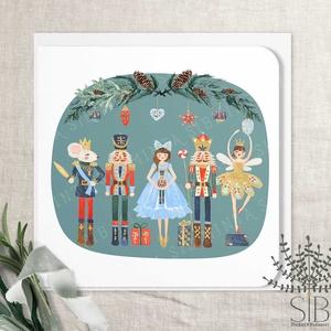 Diótörő karácsonyi képeslap, karácsonyi ajándékkísérő, balerína karácsonyi üdvözlő lap, egérkirály, ólomkatona, Otthon & Lakás, Karácsony & Mikulás, Karácsonyi képeslap, Fotó, grafika, rajz, illusztráció, Diótörő karácsony képeslap.\n\nA képeslapok matt, hófehér papírra vannak nyomtatva. \n\nAmit küldünk:\n\n1..., Meska