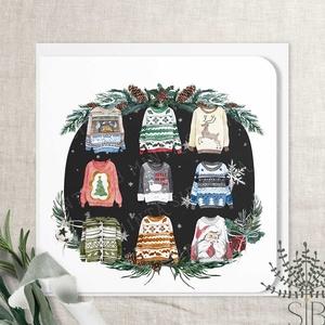 Karácsonyi ronda pulcsis képeslap, karácsonyi ajándékkísérő, pulóveres karácsonyi üdvözlő lap, vicces karácsonyi lap, Otthon & Lakás, Karácsony & Mikulás, Karácsonyi képeslap, Fotó, grafika, rajz, illusztráció, Ronda pulcsis karácsonyi képeslap.\n\nA képeslapok matt, hófehér papírra vannak nyomtatva. \n\nAmit küld..., Meska