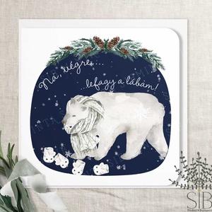 Karácsonyi jegesmedvés képeslap, jegesmaci, karácsonyi üdvözlő lap, jegesmedve karácsonyi lap, Otthon & Lakás, Karácsony & Mikulás, Karácsonyi képeslap, Fotó, grafika, rajz, illusztráció, Didergő Jegesmaci karácsonyi képeslap.\n\nA képeslapok matt, hófehér papírra vannak nyomtatva. \n\nAmit ..., Meska